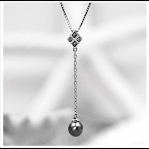 Genuine Pearl Dangle Necklace .925 Silver